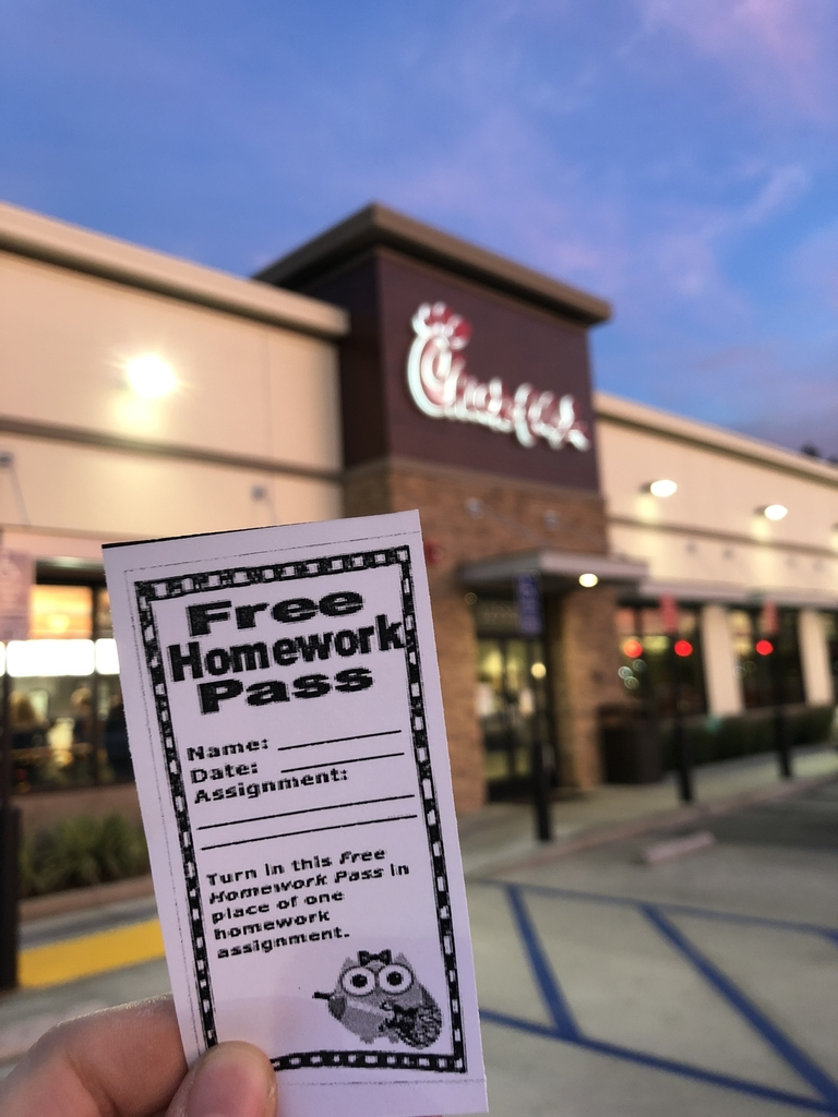 Chick-fil-A homework pass